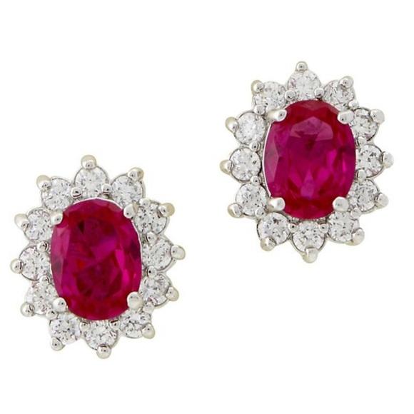 Jewelry - Pink Ruby Crystal Oval w/CZ Halo Earring, NWT